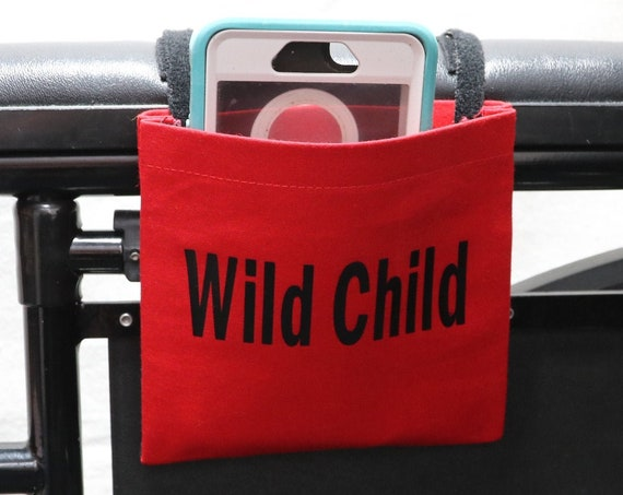 Wild Child Red Fabric Wheelchair Cell Phone Holder