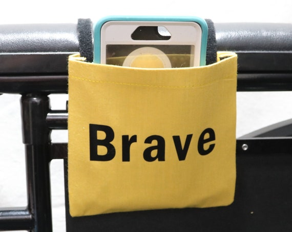 Brave Yellow Fabric Wheelchair Cell Phone Holder