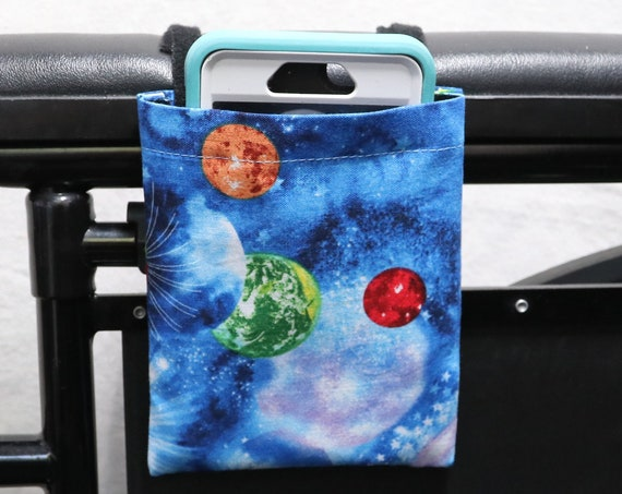 Galaxy Armrest Hanging Cell Phone Holder for a Wheelchair, Walker or other Mobility Aides