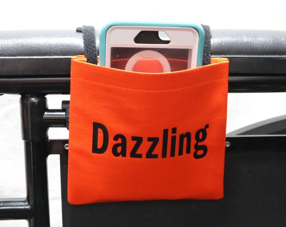 Dazzling Orange Fabric Wheelchair Cell Phone Holder