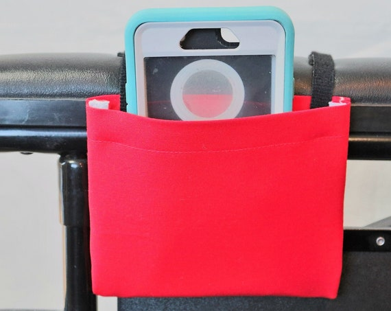 True Red Solid Color Armrest Hanging Cell Phone Holder for a Wheelchair, Walker or other Mobility Aides
