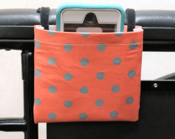 Orange with Silver Dots Armrest Hanging Cell Phone Holder for a Wheelchair, Walker or other Mobility Aides