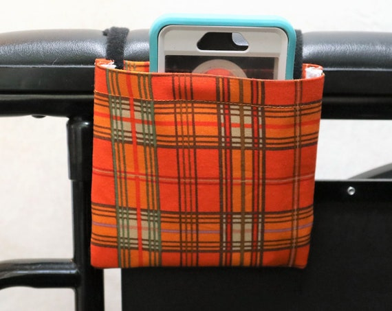 Orange Plaid Armrest Hanging Cell Phone Holder for a Wheelchair, Walker or other Mobility Aides