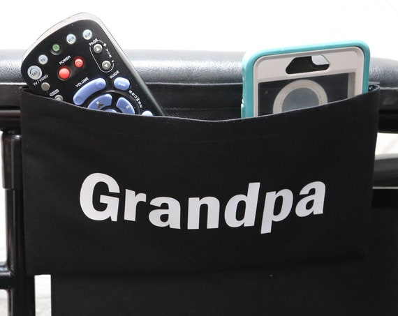 Grandpa Single Pocket Armrest Bag for Wheelchair - Optional Closures Available