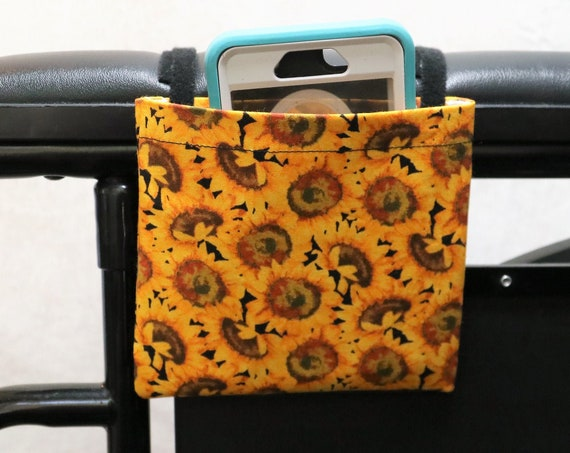 Sunflowers Armrest Hanging Cell Phone Holder for a Wheelchair, Walker or other Mobility Aides