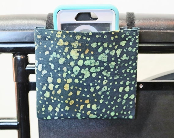 Neon Dots Wheelchair Arm Rest Cell Phone Holder, Wheelchair armrest pocket, Wheelchair arm rest cell phone pouch, Wheelchair XS Pouch