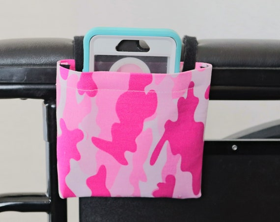 Pink Camo Armrest Hanging Cell Phone Holder for a Wheelchairs