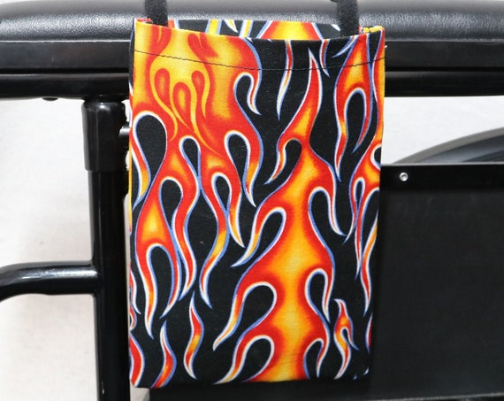 Flames Single Pocket Armrest Bag for Wheelchairs