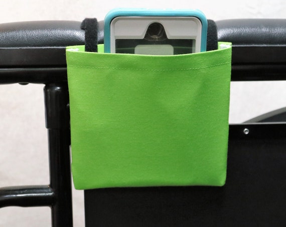 Lime Green Solid Color Armrest Hanging Cell Phone Holder for a Wheelchair, Walker or other Mobility Aides