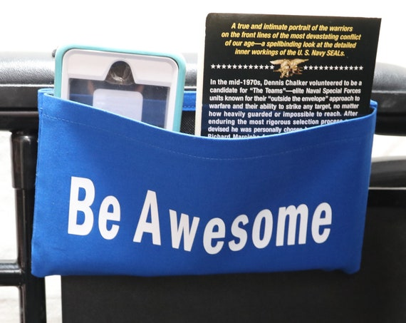 Be Awesome Single Pocket Armrest Bag for Wheelchair - Optional Closures Available