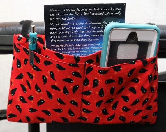Black Birds Multiple Pocket Armrest Bag for Wheelchairs