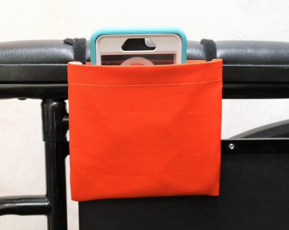Orange Solid Color Armrest Hanging Cell Phone Holder for a Wheelchair, Walker or other Mobility Aides
