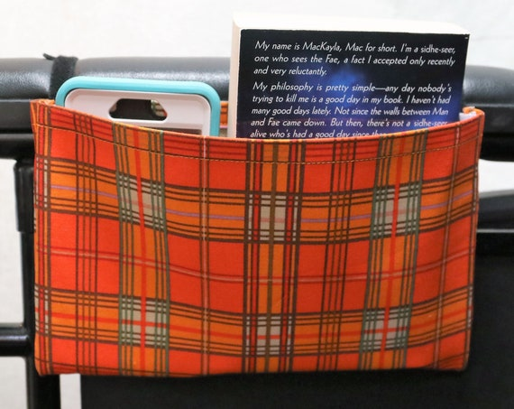 Orange and Green Plaid Single Pocket Armrest Bag for Wheelchair
