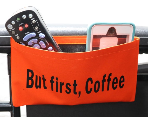 But First, Coffee Single Pocket Armrest Bag for Wheelchair - Optional Closures Available