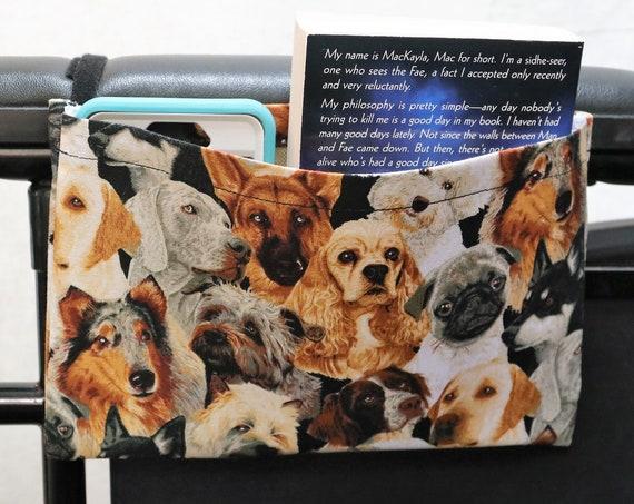 Dogs Themed Single Pocket Armrest Bag for Wheelchair