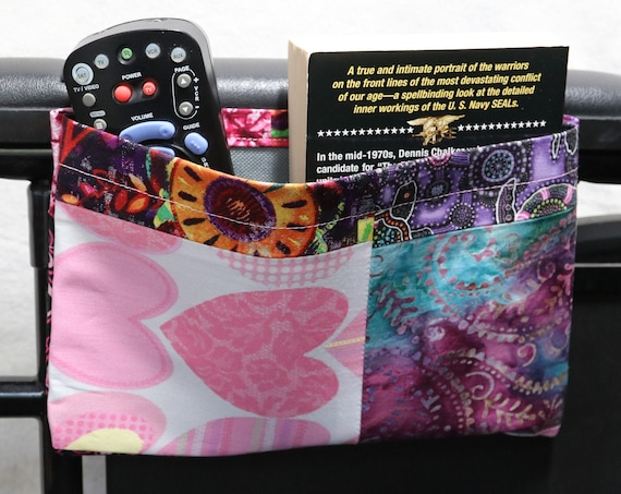 Quilted Single Pocket Armrest Bag for Wheelchair - Optional Closures are Available