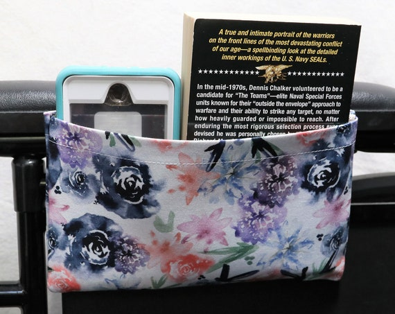 Watercolor Flowers Themed Single Pocket Armrest Bag for Wheelchairs