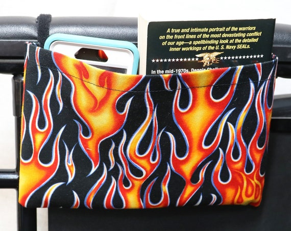 Flames Single Pocket Armrest Bag for Wheelchair - Optional Closure Styles Available
