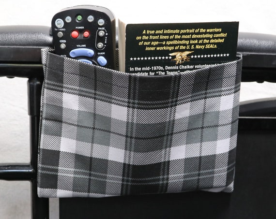 Gray and Black Plaid Single Pocket Armrest Bag for Wheelchairs