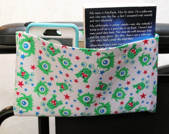 Green Aliens Single Pocket Armrest Bag for Wheelchair - Optional Closure Styles Available