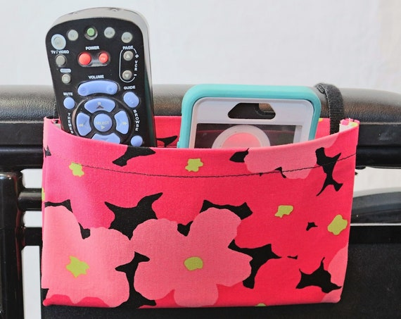 Bright Pink Flowers Single Pocket Armrest Bag for Wheelchairs