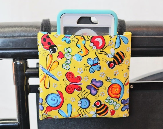 Spring Time Wheelchair Arm Rest Cell Phone Holder, Wheelchair cellphone pocket, Wheelchair arm rest cell phone pouch, Wheelchair XS Pouch