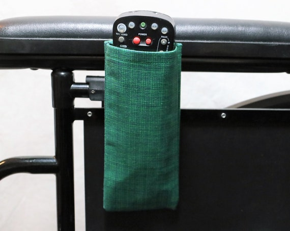 Armrest Hanging Remote control Holder for a Wheelchair, Walker or other Mobility Aide