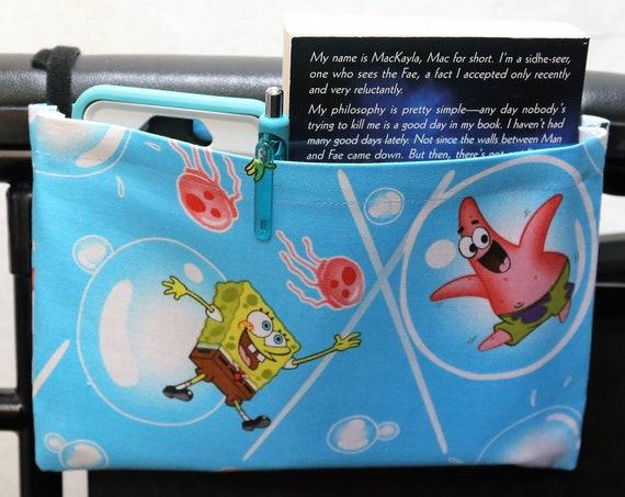 Spongebob and Patrick Single Pocket Armrest Bag for Wheelchairs