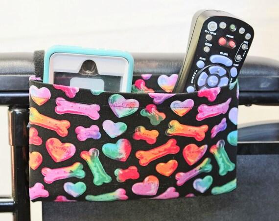 Rainbow Bones and Hearts Single Pocket Armrest Bag for Wheelchair