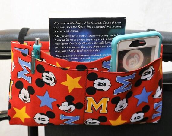 Red MousecMultiple Pocket Armrest Bag for Wheelchair