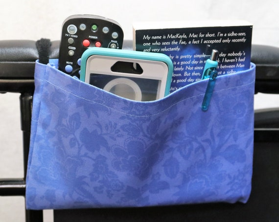 Blue Flowers Single Pocket Armrest Bag for Wheelchairs
