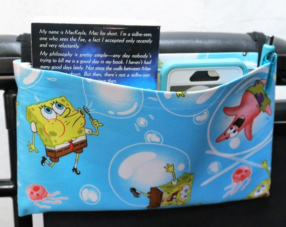 Spongebob and Patrick Single Pocket Armrest Bag for Wheelchair - Optional Closure Styles Available