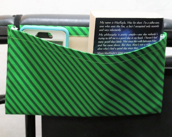 Green Stripes Single Pocket Armrest Bag for Wheelchair - Optional Closure Styles Available