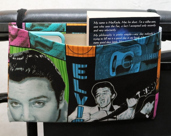 Elvis the King Single Pocket Armrest Bag for Wheelchair - Optional Closure Styles Available
