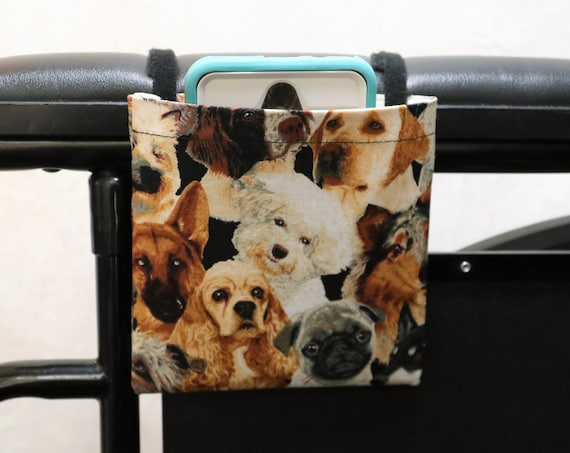 Dogs Armrest Hanging Cell Phone Holder for a Wheelchair, Walker or other Mobility Aides