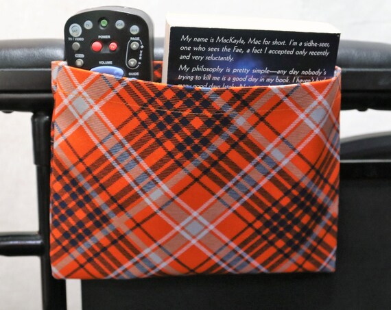 Orange and Blue Plaid Themed Single Pocket Armrest Bag for Wheelchair