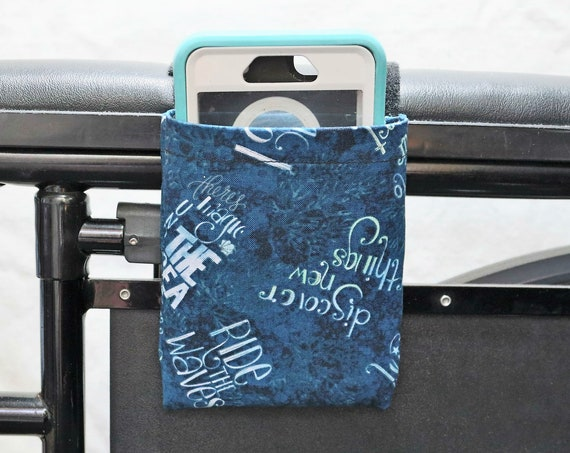 Blue Ride the Waves Wheelchair Arm Rest Cell Phone Holder, Armrest Pocket, Wheelchair arm rest cell phone pouch, Wheelchair XS Pouch