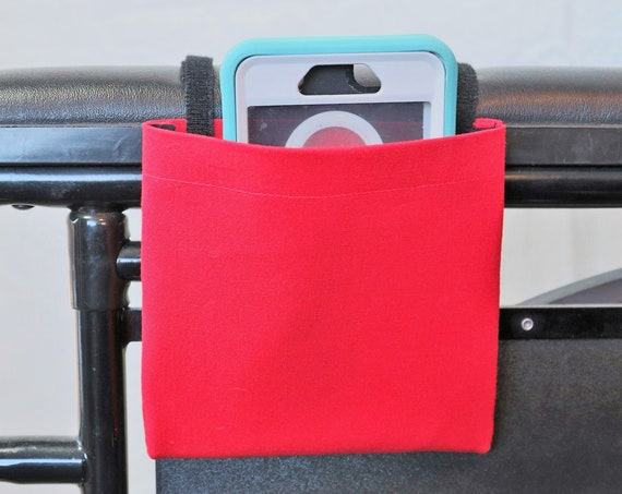 True Red Wheelchair Arm Rest Cell Phone Holder Pocket, Wheelchair armrest pocket, Wheelchair arm rest cell phone pouch, Wheelchair XS Pouch
