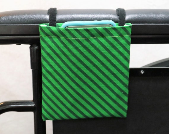 Green Stripes Designs Armrest Hanging Cell Phone Holder for a Wheelchair, Walker or other Mobility Aides