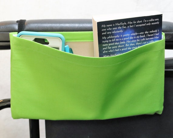 Neon Green Light Marbling Single Pocket Armrest Bag for Wheelchair - Optional Closure Styles Available
