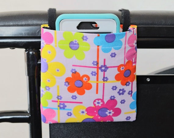Multi Colored Flowers Armrest Hanging Cell Phone Holder for a Wheelchair, Walker or other Mobility Aides