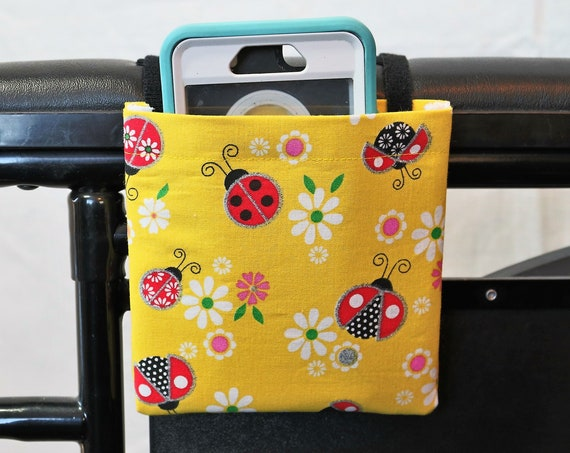 Ladybug Themed Armrest Hanging Cell Phone Holder for a Wheelchair, Walker or other Mobility Aides