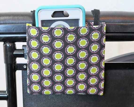 Daisy Flowers Themed Armrest Hanging Cell Phone Holder for a Wheelchair, Walker or other Mobility Aides
