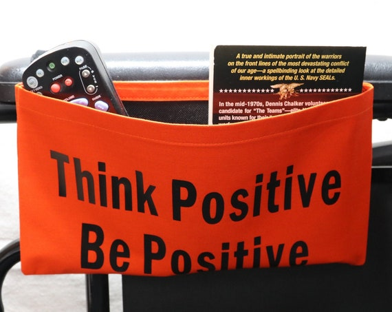 Think Positive Be Positive Single Pocket Armrest Bag for Wheelchair - Optional Closures Available
