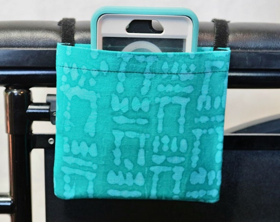 Two Toned Teal Armrest Hanging Cell Phone Holder for a Wheelchair, Walker or other Mobility Aides