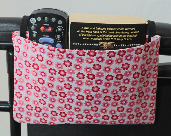 Pink Flowers Single Pocket Armrest Bag for Wheelchairs