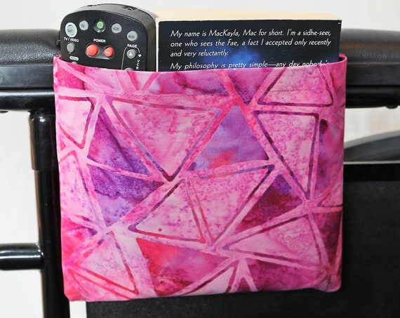 Bright Pink Triangles Single Pocket Armrest Bag for Wheelchairs