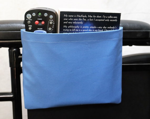 Steal Blue Solid Color Single Pocket Armrest Bag for Wheelchairs