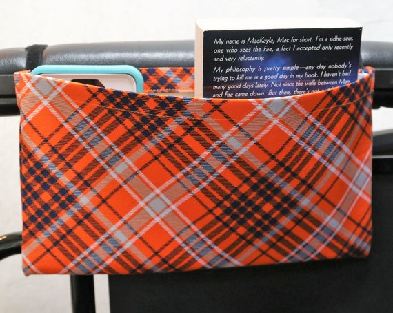 Orange and Blue Plaid Single Pocket Armrest Bag for Wheelchair - Optional Closure Styles Available