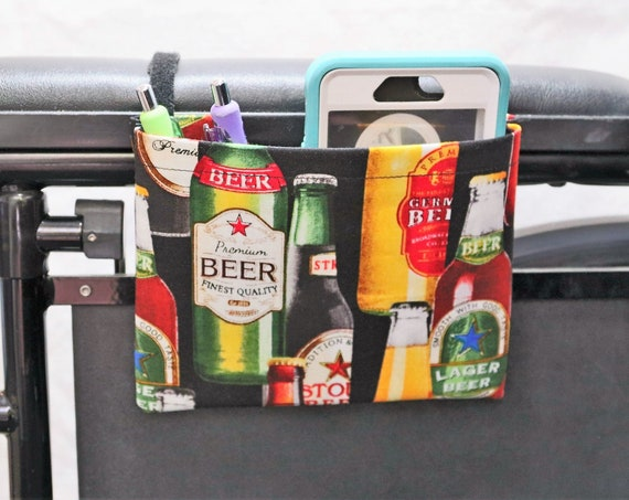 Beer Bottles Armrest Hanging Cell Phone Holder for a Wheelchair, Walker or other Mobility Aides